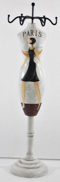 Schmuckbüste Beauty Figur Deko Modefigur Nostalgiefigur Weißes Torso mit Paris Schriftdruck H 28 cm