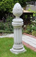 Beton Figur Skulptur ionische Säule mit Pinienzapfen H 75 cm klassische Deko Statue Gartenskulptur