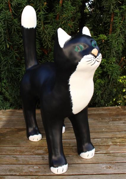 Dekofigur Gartenfigur schwarze Katze stehend H 47 cm Tierfigur Katzenfigur aus Kunstharz