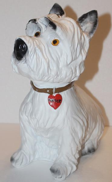 """Deko Figur Hund West Highland White Terrier """"Ginger """" sitzend H 33 cm Dekofigur aus Kunstharz"""""""