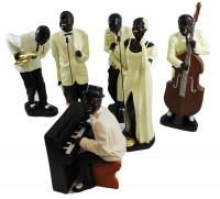Deko Figuren Musiker Band bis H 56 cm Figuren Jazz Musiker 6-er Satz sortiert aus Kunstharz