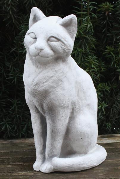 Beton Figur Katze sitzend H 30 cm Katzenfigur Dekofigur und Gartenfigur aus Beton