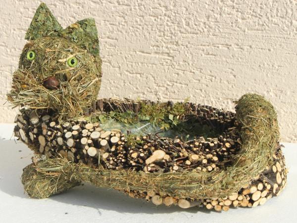 Deko Figur Katze liegend L 35 cm Figur zum Bepflanzen aus Naturmaterial Heu und Reisig Heukatze