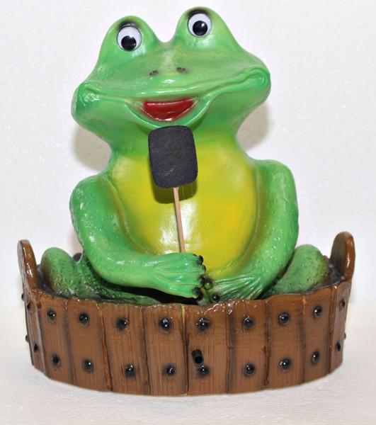 Deko Figur lustiger Frosch badend im Zuber H 28 cm mit Scherz Bewegungsmelder Quak Gartenfigur
