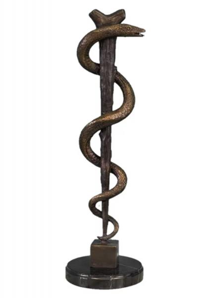 Bronzefigur Bronzeskulptur Äskulapstab Schlange aus Bronze auf Marmorsockel H 43 cm Deko Figur