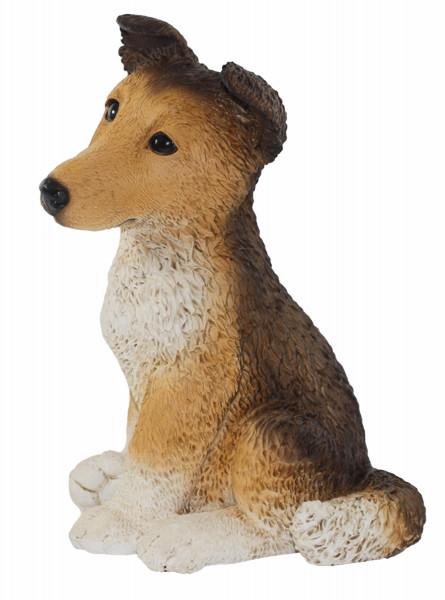 Deko Figur Hund Border Collie Welpe Hundefigur sitzend Kollektion Castagna aus Resin H 27 cm