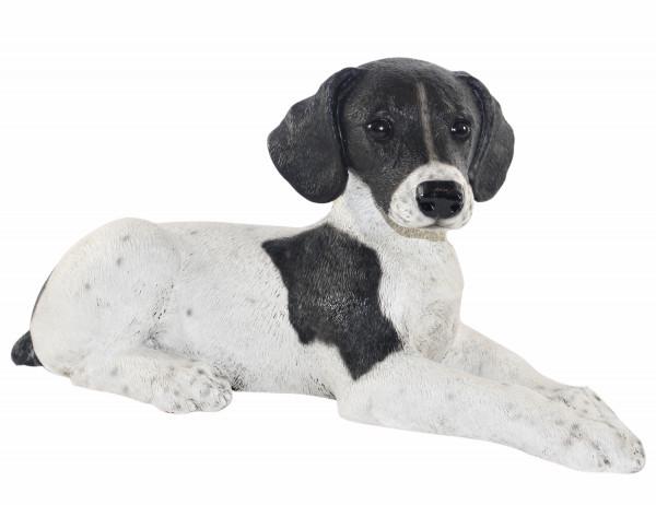 Figur Englischer Pointer Welpe Hundefigur liegend schwarz gefleckt Kollektion Castagna Resin H 18 cm