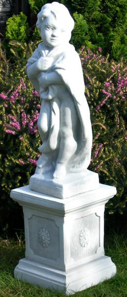 Beton Figuren Statue Putte Vierjahreszeiten Winter auf klassischer Säule H 79 cm Gartenskulpturen