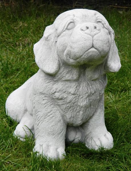 Beton Figur Hund Welpe sitzend H 26 cm Tierfigur Dekofigur und Gartenfigur