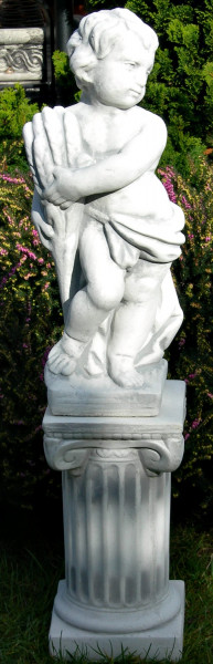 Beton Figuren Statue Putte Vierjahreszeiten Sommer auf ionischer Säule H 84 cm Gartenskulpturen