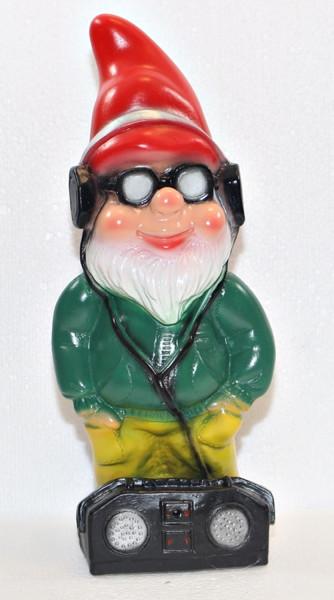 Gartenzwerg stehend Cool Zwerg mit Radio und Brille H 34 cm Scherz Bewegungsmelder Pfiff Ha-Ha
