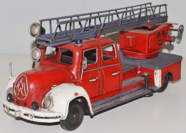 Blechauto Nostalgie Modellauto Oldtimer Magirus-Deutz Modell Mercur Feuerwehrauto aus Blech L 35 cm