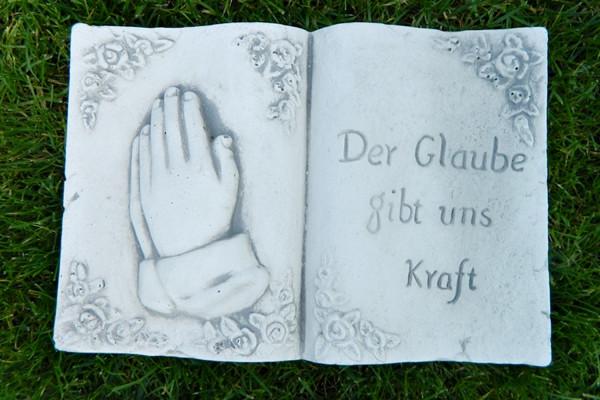 """Beton Figur Buch mit Aufschrift Der Glaube gibt uns Kraft """" Länge 30 cm Grabdekoration"""""""
