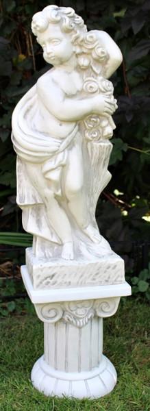Deko Figur Statue Vierjahreszeiten Putte Frühling auf ionischer Säule H 100 cm 2-teilig Kunststoff