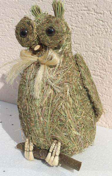 Deko Heu Figur Eule sitzend Heueule Höhe 30 cm Tierfigur aus Naturmaterial Heu zum Basteln Heudeko