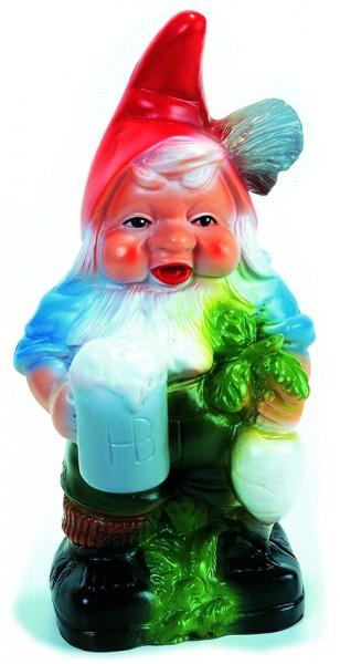 Gartenzwerg mit Bierkrug Figur Zwerg H 33 cm Gartenfigur aus Kunststoff