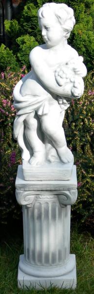 Beton Figuren Statue Vierjahreszeiten Herbst auf ionischer Säule H 84 cm Dekofigur Gartenskulpturen