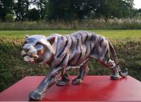 Bronzefigur Bronzeskulptur Tierfigur silberner Tiger aus Bronze B 49 cm Deko Skulptur Tigerfigur