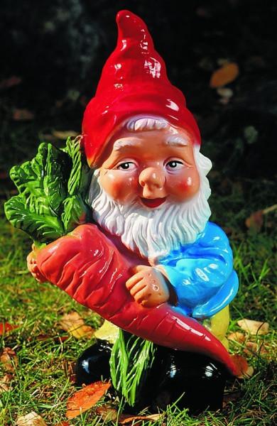 Gartenzwerg mit Rübe Figur Zwerg H 30 cm Gartenfigur aus Kunststoff
