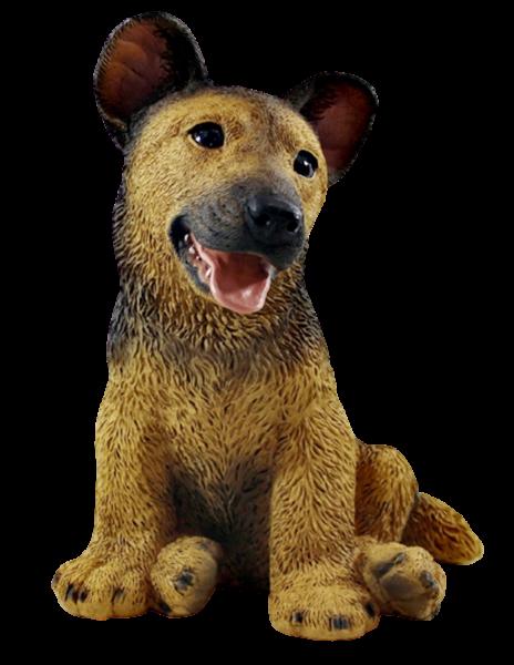Deko Figur Hund Schäferhund Welpe Hundefigur sitzend Kollektion Castagna aus Resin H 27 cm