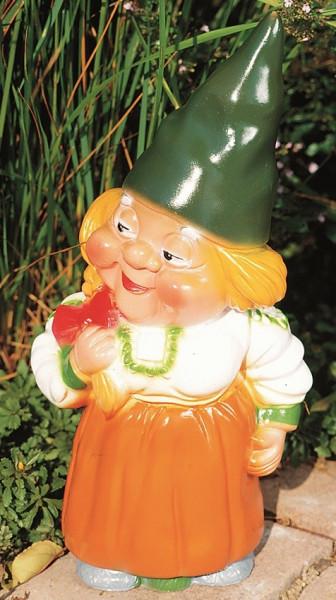 Gartenzwerg Heinzelweibchen Figur Zwerg Frau H 35 cm Gartenfigur aus Kunststoff