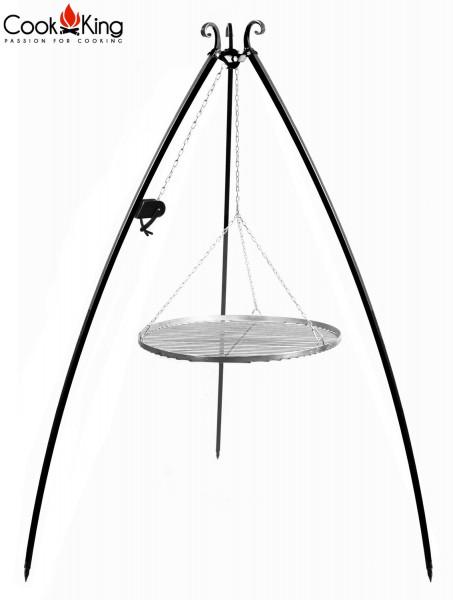 Schwenkgrill mit Kurbel H 200 cm mit Grillrost Ø 70 cm aus Edelstahl Dreibein Grill Grillständer