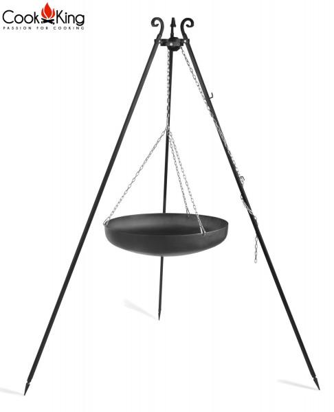 Dreibein H 180 cm mit Wok Ø 60 cm aus Stahl Dreibeingestell Wok Grill Tripod Grillständer