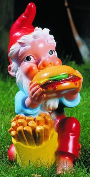 Gartenzwerg mit Hamburger Figur Zwerg H 33 cm Gartenfigur aus Kunststoff