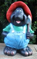 Dekofigur lustiger Maulwurf stehend mit Kreuzhacke Pionierpickel H 45 cm Gartenfigur aus Kunstharz