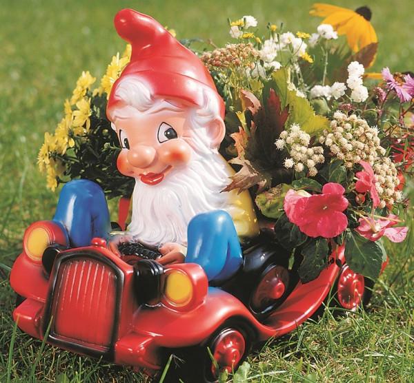 Gartenzwerg mit Auto zum Bepflanzen Figur Zwerg H 43 cm Gartenfigur aus Kunststoff