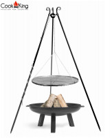 """Set: Dreibein H 180 cm mit Grillrost Ø 60 cm aus Rohstahl + Feuerschale """"Polo"""" Ø 70 cm Grillen"""