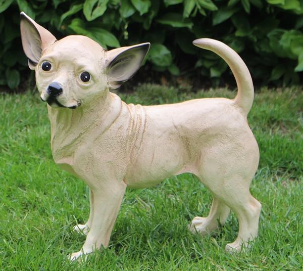 Dekofigur Hund Chihuahua Höhe 34 cm Tierfigur aus Kunstharz