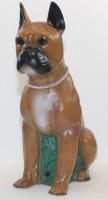 Deko Figur Hund Boxer Dekofigur sitzend H 40 cm Hundefigur mit Scherz Bewegungsmelder Wau-wau