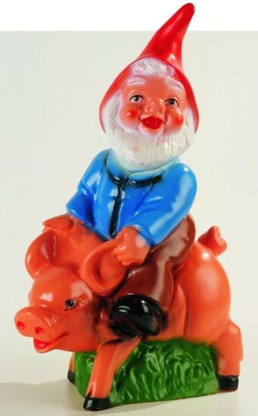 Gartenzwerg auf Schwein Figur Zwerg H 32 cm Gartenfigur aus Kunststoff
