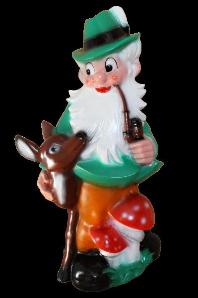 Gartenzwerg Förster mit Reh und Pilzen Figur Zwerg H 85 cm Gartenfigur Riesenzwerg aus Kunststoff