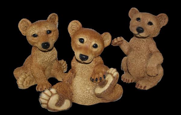 Dekofigur Sammler Tierfigur Bärfigur junge Bären 3-er Satz Kollektion Castagna aus Resin H 21-24 cm