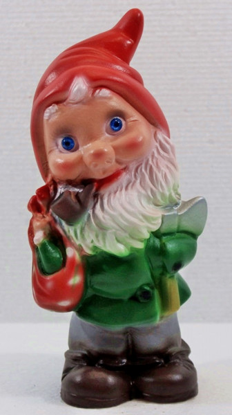 Deko Figur Zwerg H 20 cm Gartenzwerg Waldarbeiter mit Axt stehend Gartenfigur aus Kunststoff