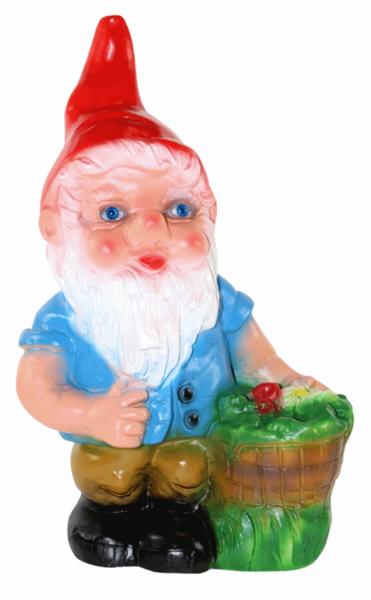 Deko Figur Zwerg H 32 cm Gartenzwerg mit Pflanzkorb stehend Gartenfigur aus Kunststoff