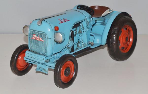 Blechtraktor Nostalgie Modellauto Oldtimer Marke Eicher Traktor Dieselschlepper aus Blech L 32 cm