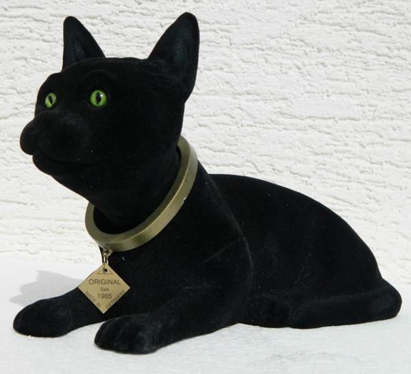 Wackel Figur Katze Wackelfigur Höhe 17 cm groß schwarz Dekofigur mit Wackelkopf