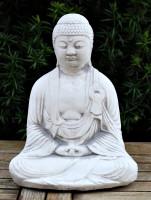 Beton Figur Statue Buddha klein sitzend in der Hocke H 27 cm Dekofigur und Gartenskulptur