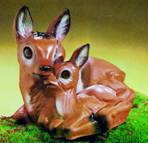 Deko Figur Reh mit Kitz liegend H 12 cm Gartenfigur Dekofigur aus Kunststoff