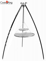 Schwenkgrill H 200 cm mit Doppelrost aus Edelstahl 80 cm + 40 cm Dreibein Grill Tripod Grillen