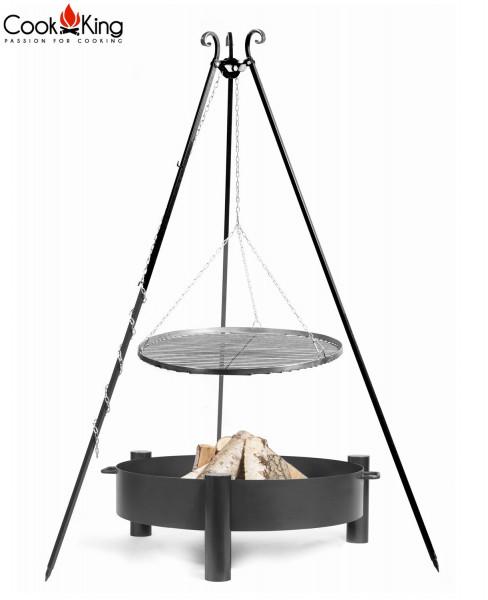 """Set: Dreibein H 180 cm mit Grillrost Ø 50 cm aus Rohstahl + Feuerschale """"Haiti"""" Ø 60 cm Grillen"""