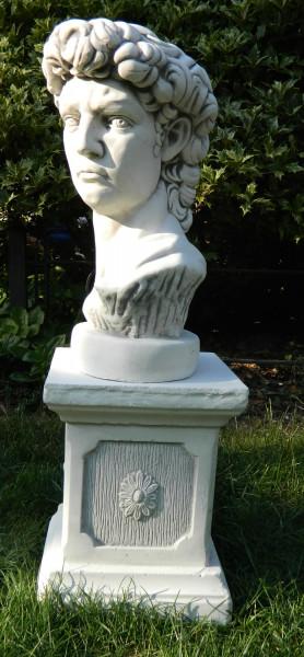 Beton Figuren Statue Büste David von Michelangelo auf klassischer Säule H 63 cm Dekofiguren und Gart