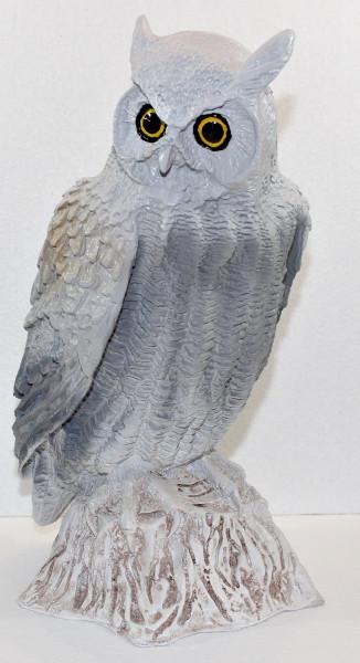 Dekorationsfigur Vogelfigur Eule sitzend H 48 cm Gartendeko Gartenfigur aus Kunstharz