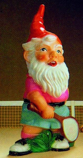 Gartenzwerg als Tennisspieler Figur Zwerg H 34 cm Gartenfigur aus Kunststoff