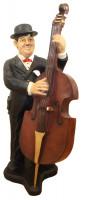 Deko Figur Komiker Dick mit Kontrabass H 89 cm Dekofigur Musiker Hardy aus Kunstharz