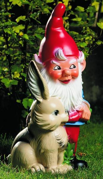 Gartenzwerg mit Hase Figur Zwerg H 30 cm Gartenfigur aus Kunststoff