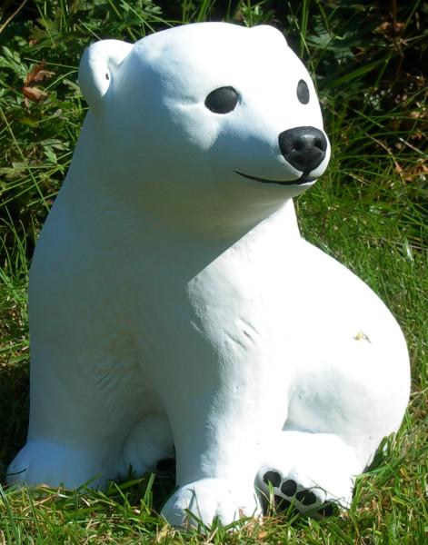 Beton Figur kleiner Eisbär H 20 cm Dekofigur und Gartenfigur